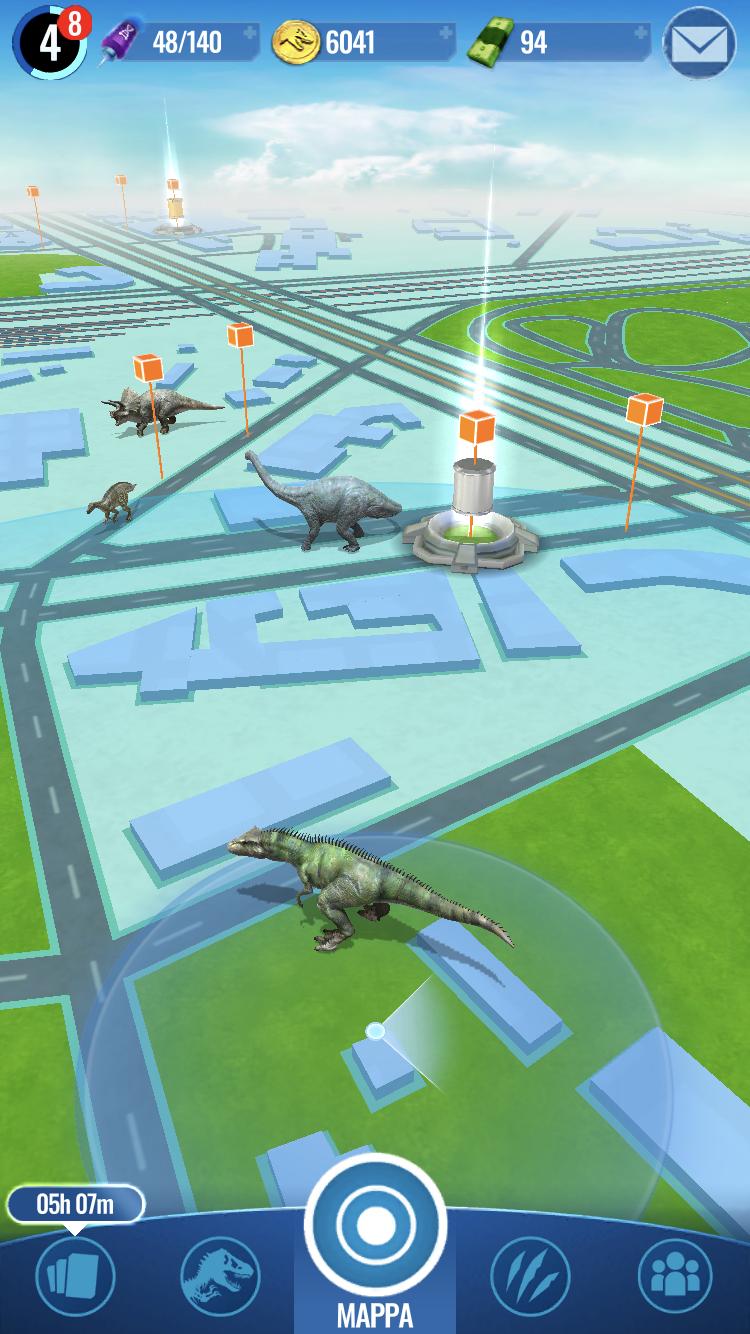jurassic world alive gioco mappa