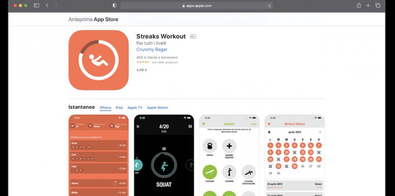 Streaks Workout app per iPhone